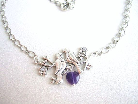 Love birds necklace silver branch necklace by MalinaCapricciosa, $19.00