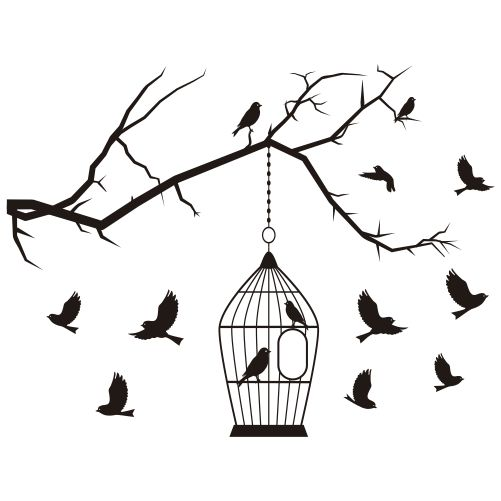 Adesivo Pássaros na Gaiola