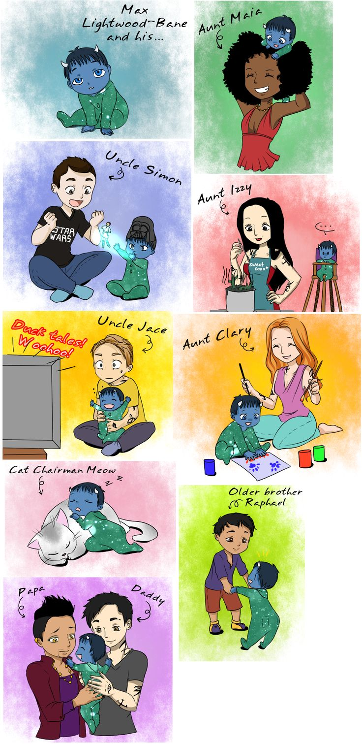 Max Lightwood Bane and his family ... From the hands off umkasandiary ... shadowhunters, alexander 'alec' lightwood, magnus bane, the mortal instruments, malec, chairman meow, raphael lightwood bane, max lightwood bane, maia roberts, simon lewis, jace herondale, clarissa 'clary' fray, isabelle lightwood