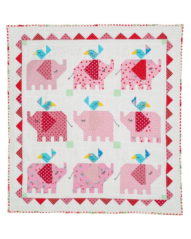 """Little Elephant Quilt ~ pink elephants on parade! 9 on this quilt but 1 on a cushion or a few on a foot runner would also be adorable ~ machine piecing, 51x55"""" finished size, $20 pattern book   via Red Brolly"""