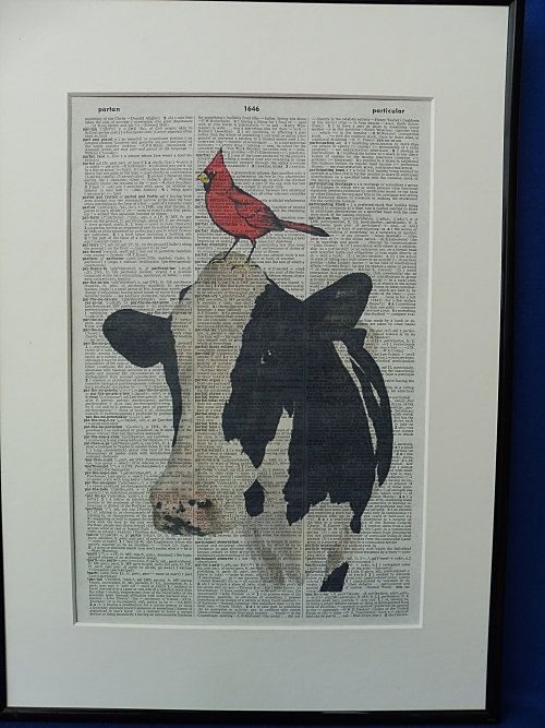 Cow and Red Bird Dictionary Wall Art Print the by DecorisDesigns