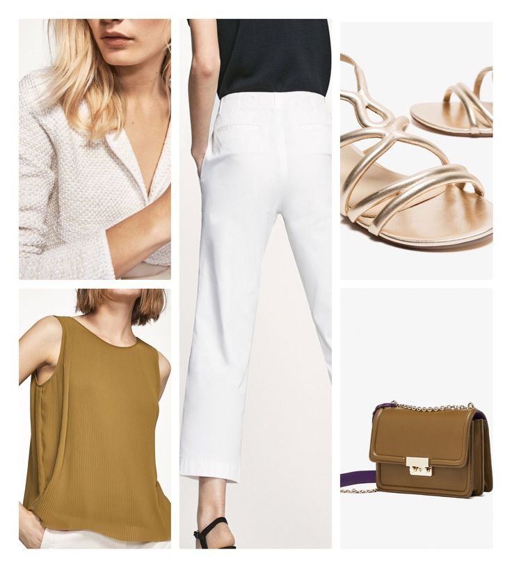 Today's choice  White & green: cropped chino trouser, two-tone cardigan, pleated top.  Accessories: laminated sandal and crossbody bag with chain
