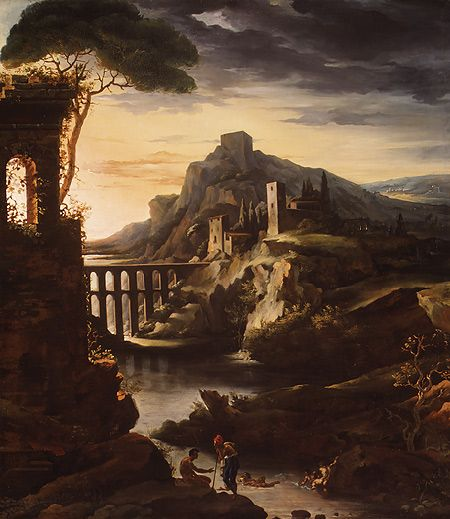 evening landscape with an aqueduct Evening: landscape with an aqueduct: typical example of romantic art theodore gericault was a french painter, perhaps the most influential artist of his time.