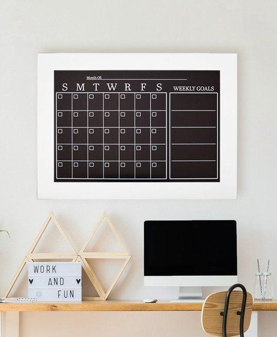 Large Wall Calendar Magnetic Chalkboard Calendar Etsy Chalkboard Chalkboardcalendar Officecalendar Framedchalkboar With Images Office Decor Large Wall Calendar Decor