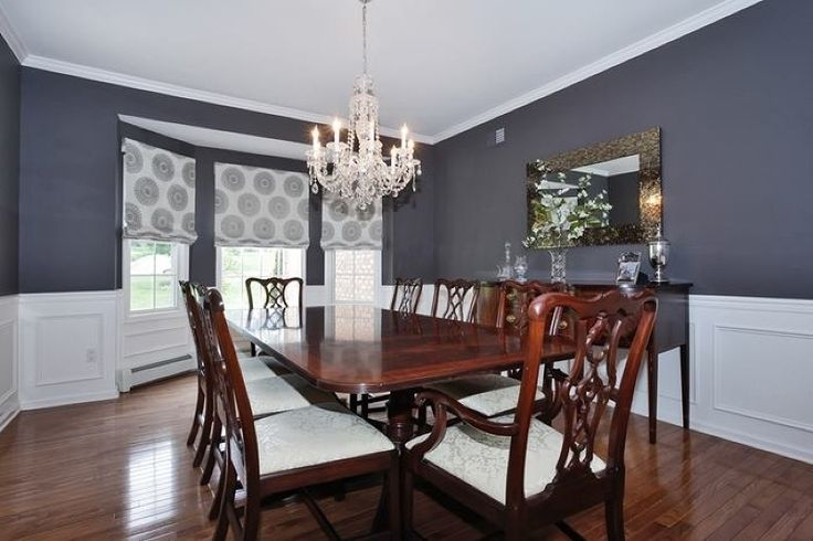 Traditional Dining Room with Chandelier, Bay window, Chair ...
