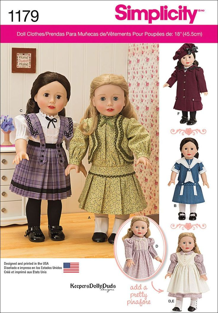 Visit the pattern department in store to browse our patterns available in store.Vintage inspired clothes pattern for 18inches doll includes three dresses, blouse and skirt, pinafore, coat and hat. Kee
