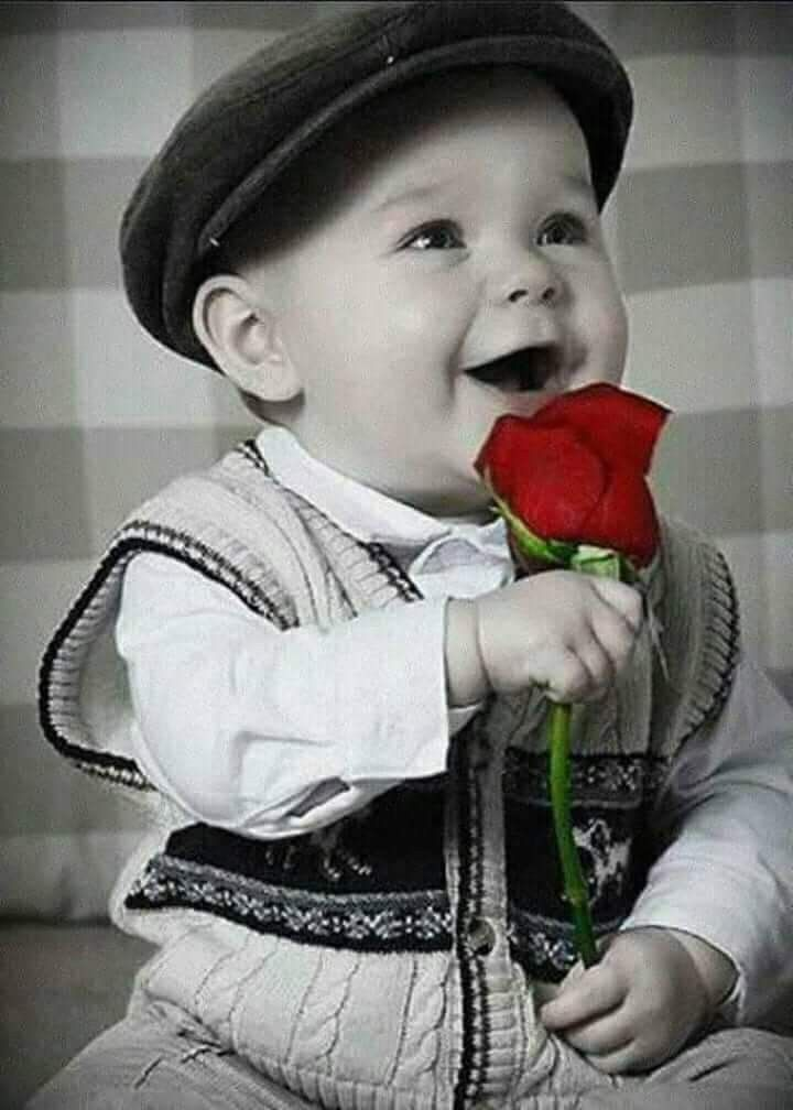 Cute Baby With Rose : Little, Lovely, Hand., Valentines, Baby,, Pictures,, Online, Photo, Editing