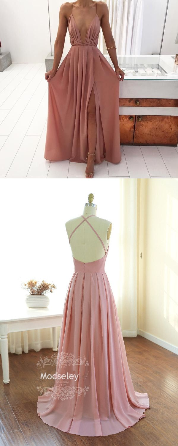 Sexy A-line Deep V-neck Long Pink Prom Dress Boho Prom Dress - Thumbnail 4