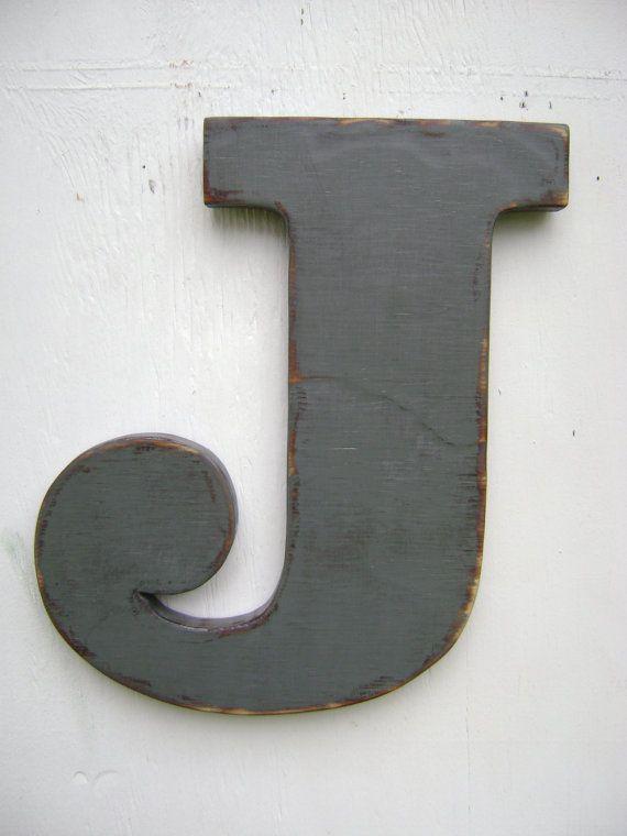"""Decorazione rustica shabby chic grandi lettere in legno camera arredamento lettera J iniziali, vivaio, cabina, cottage, arredamento 12"""" alto spessore 3/4"""""""