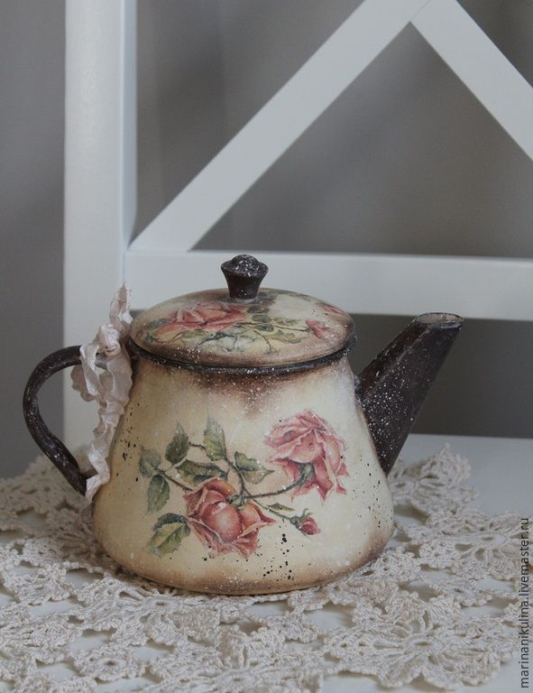 """Купить """"Чайная роза"""" чайничек - бежевый, коричневый, кантри, прованс, винтаж, чайник, чайничек"""