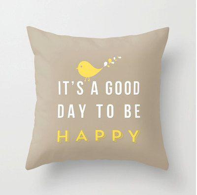 Happy pillow   Decorative throw pillows grey by MonochromeStudio, $35.00