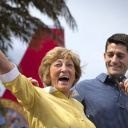 Walking on stage Saturday hand-and-hand with his retired mother, GOP vice presidential candidate Rep. Paul Ryan vowed to hundreds of Florida seniors that he and Mitt Romney, if elected, would preserve Medicare for them.
