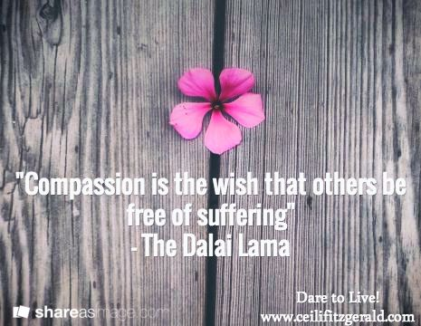 """Compassion is the wish that others be free of suffering""  - The Dalai Lama / Dare to Live! www.ceilifitzgerald.com"