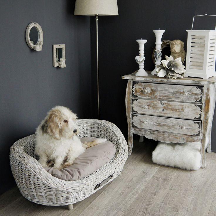 Rieten hondenmand van Happy-House. Een stijlvolle ovale rieten sofa voorzien van white wash. Een eyecatcher in uw interieur.  Sofa ovaal Wit | Happy-House, Pets your LifeStyle