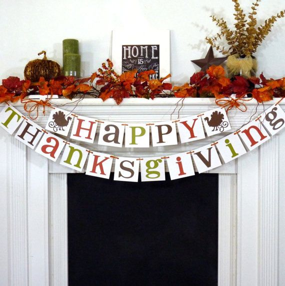Thanksgiving Decorations Banner  Happy by BannerCheerJR on Etsy, $38.00