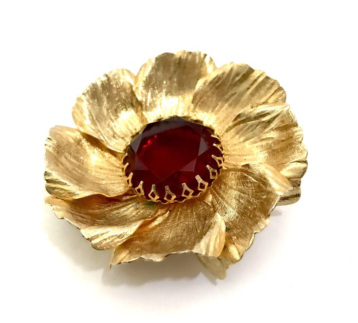 Excited to share the latest addition to my #etsy shop: Large Gold Tone Flower Brooch, Brushed Gold Tone Metal Petals, Open Back Red Center Crystal, Fancy Prongs, Dimensional, Vintage Gift for Her