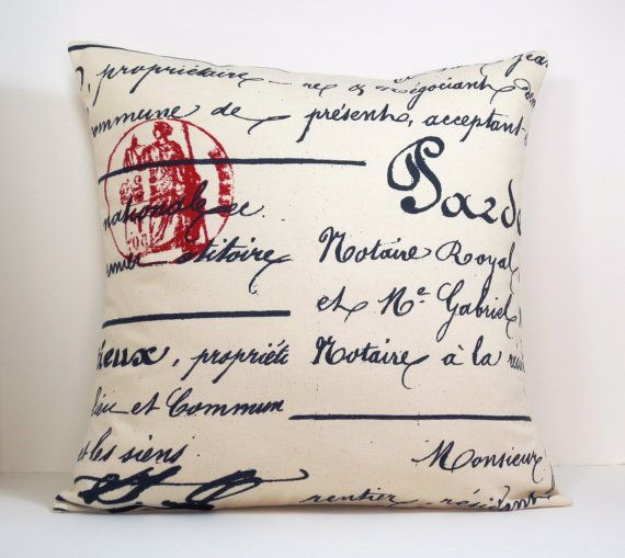 Throw Pillows With French Script : SET of 2 French Script decorative throw pillow covers 18 x18 inches Accent cushion sham ...