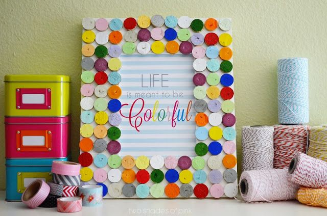 Two Shades of Pink: All You Magazine: Confetti Cork Frame DIY (I think I could use felt scraps)