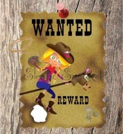 Wanted: stoere cowgirl voor een stoer feestje!  traktatielabels voor aan je zakje snoep,leuk!
