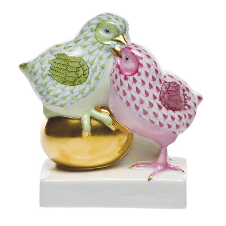 Herend Pair of Chicks on Golden Egg $415.00