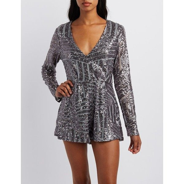Charlotte Russe Sequin V-Neck Romper ($45) ❤ liked on Polyvore featuring jumpsuits, rompers, silver, long sleeve romper, charlotte russe romper, deep v neck romper, long-sleeve rompers and sequin rompers