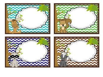 CUBBY LABELS 1-28 WOODLAND CHEVRON THEME (BROWN, BLUE, AQUA, GREEN) - TeachersPayTeachers.com