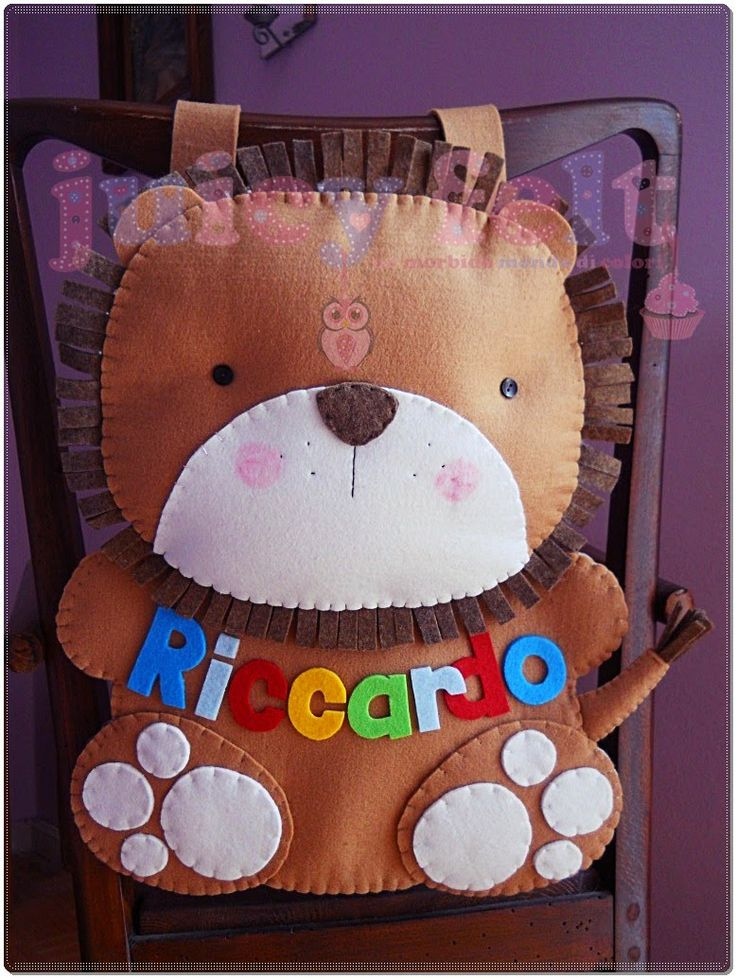 Juicy felt: Un portapigiama a forma di leoncino per Riccardo