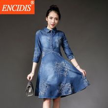 European Vintage Denim Dress Women Clothing Spring Summer 5XL Plus Size Dress 2017 Casual Embroidery A-Line Jeans Dresses Q79(China (Mainland))