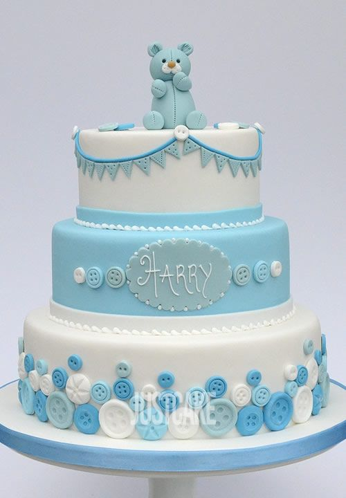 3 Tier Teddy Christening Cake by Just Cake in Norfolk.