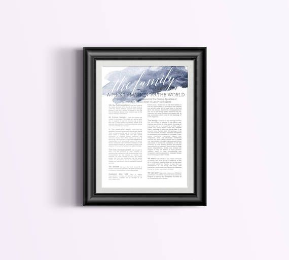 The Family A Proclamation to the World Watercolor  LDS - Breetique - Digital Print Download