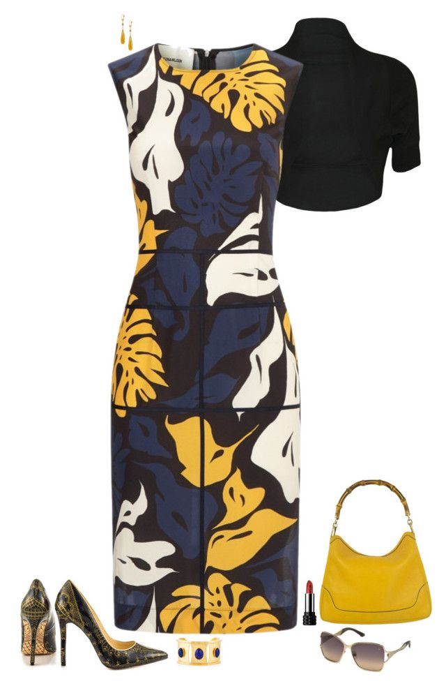 """""""Blue & yellow"""" by julietajj on Polyvore featuring WearAll, Cédric Charlier, Evelyn Knight, Gucci, Swarovski, women's clothing, women, female, woman and misses"""