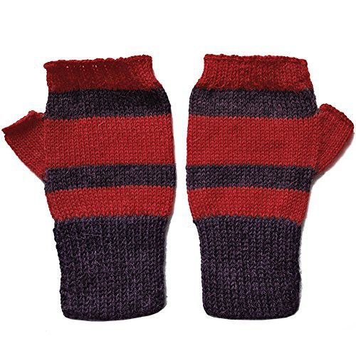 100% Alpaca Knit Fingerless Gloves ~ Mulberry, Red Mittens Accessories ~ M