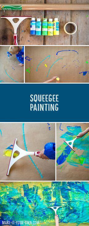 Moderne Kinderkunst mit einem Duschabzieher. Das Bild kann man später z.B. als Geschenkpapier weiterverwenden.