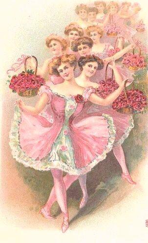 vintage greeting card illustration of ballerinas