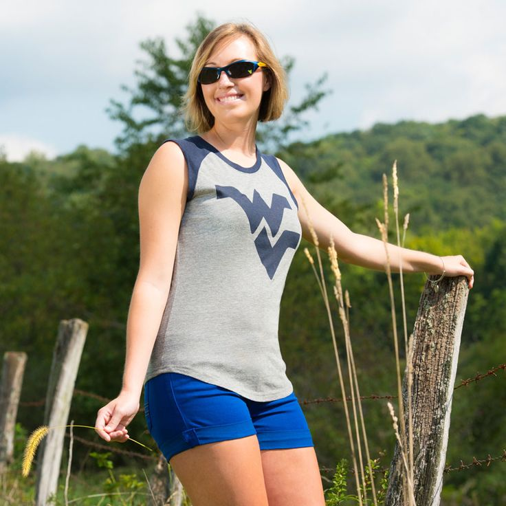 WVU cuffed shorts by OJC Apparel - http://www.ocjapparel.com/shop/west-virginia-mountaineers/west-virginia-runner-cuffed-shorts-in-blue/ Tank by Red Shirt available at the WVU Bookstore
