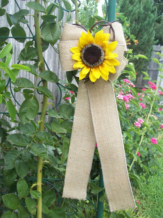 Burlap and Sunflower Pew Bows Country Wedding Decor by OneFunDay