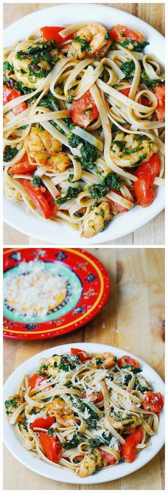 Shrimp, tomato, and spinach pasta in garlic butter sauce - I Cook He ...