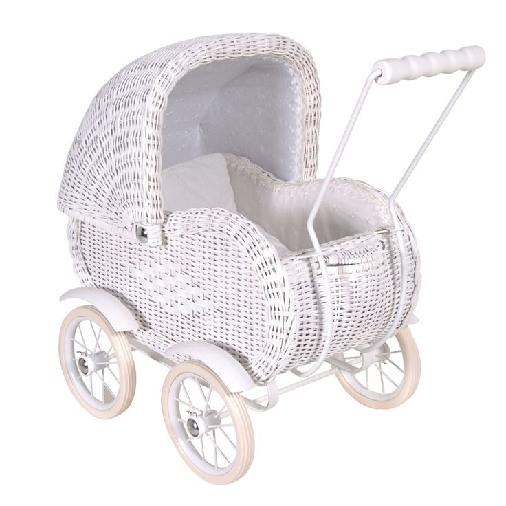 White Rattan Dolls Pram - Little Sweetpeas - Bedroom