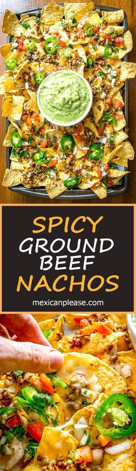 These Spicy Ground Beef Nachos have the potential to save your day! Chipotles in adobo give the beef real kick and when loaded on cheese covered tortilla chips they quickly become a go-to meal. Served with a homemade Avocado Salsa Verde and your choice of fixings. So good! #nachos http://mexicanplease.com