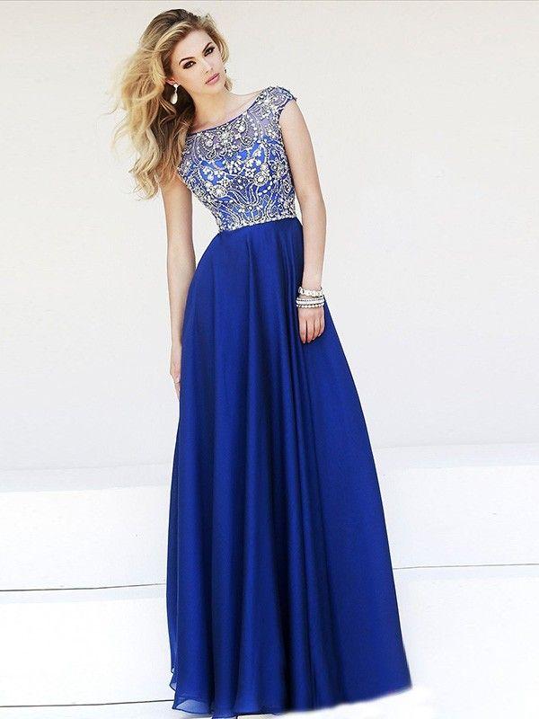 A Line/Princess Scoop Sleeveless Beading Chiffon Floor Length Dresses