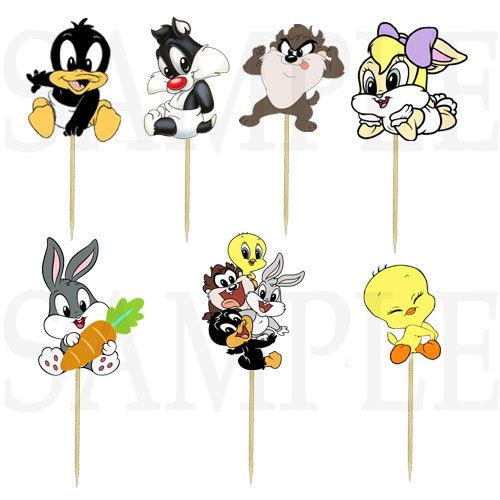 Baby Looney Tunes Cupcake Picks by JustForYourBabyShop on Etsy, $7.99