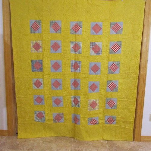 Sunny Yellow 30s Bow Tie Vintage Quilt Red Check 75 x 71 Farm House Charm | eBay