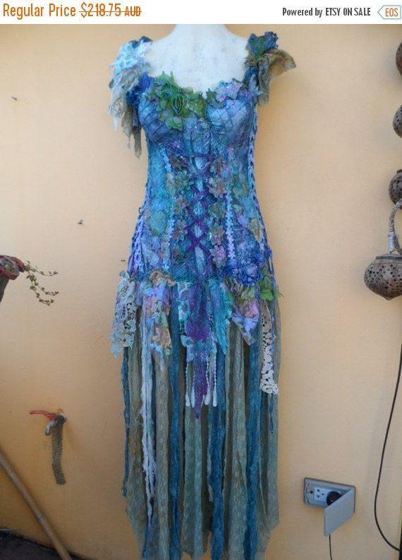 20 % OFF réservé sirène mariage formel brides maid Bohème lagenlook gyspy boho vintage robe/top .smaller buste ferme 38