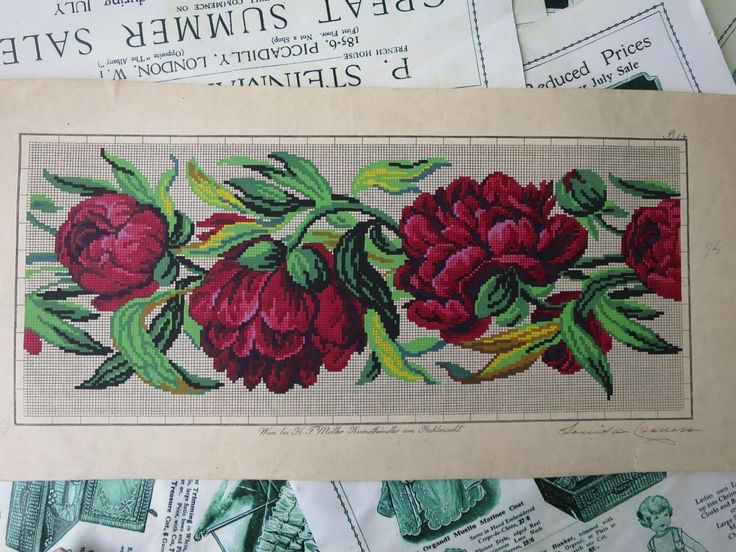 Antique Hand Painted Berlin Woolwork Embroidery Chart- HF Muller- Peonies | eBay
