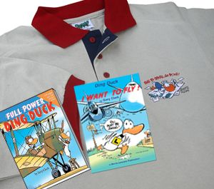 "Great gift for a pilot or aviation enthusiast. Special price at $49.50 (usually $68.00) 'Time to Spare Go By Air' Polo Shirt - Australian made in 100% cotton +. ""I Want to Fly"" Ding Duck Book + ""Full Power Ding Duck"" Book  https://shop.swamp.com.au/product/polo-shirts/time-to-spare-go-by-air-polo-shirt-books/"