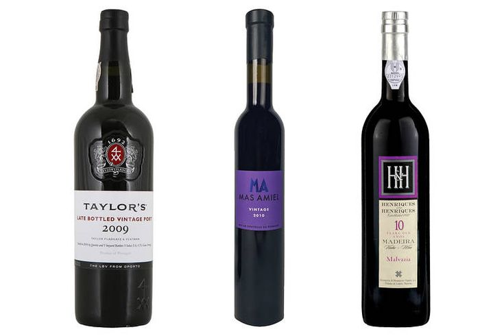 From left, 2009 Taylor's Late-Bottled Vintage Port; 2010 Mas Amiel Maury; Henriques & Henriques 10-Year-Old...