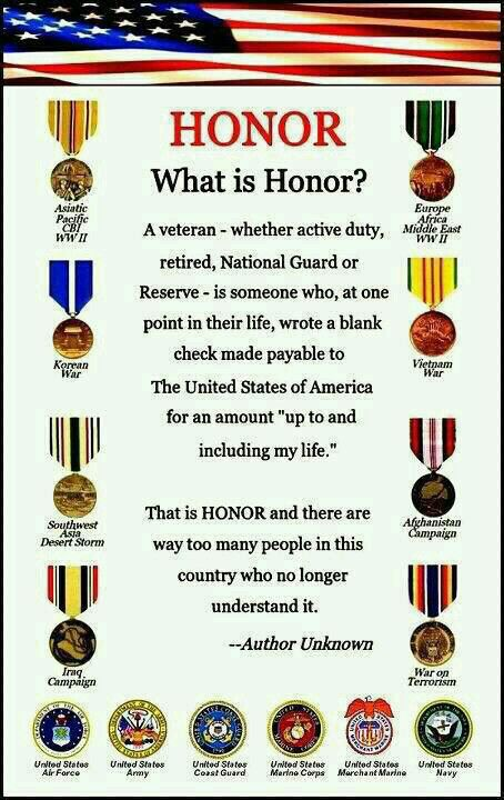 Honor- my father understood this completely  he was in the service for over 30 yrs. my son and daughter both served in the Army and Air Force. They both understood what Honor meant.