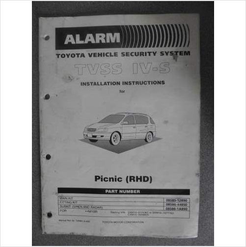 Toyota Picnic IV-S Installation Instructions Manual 99 T4RM10400 on eBid United Kingdom