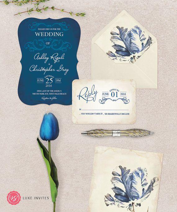 Navy Blue Wedding Invitation Suite  Deep Blue by VGInvites on Etsy