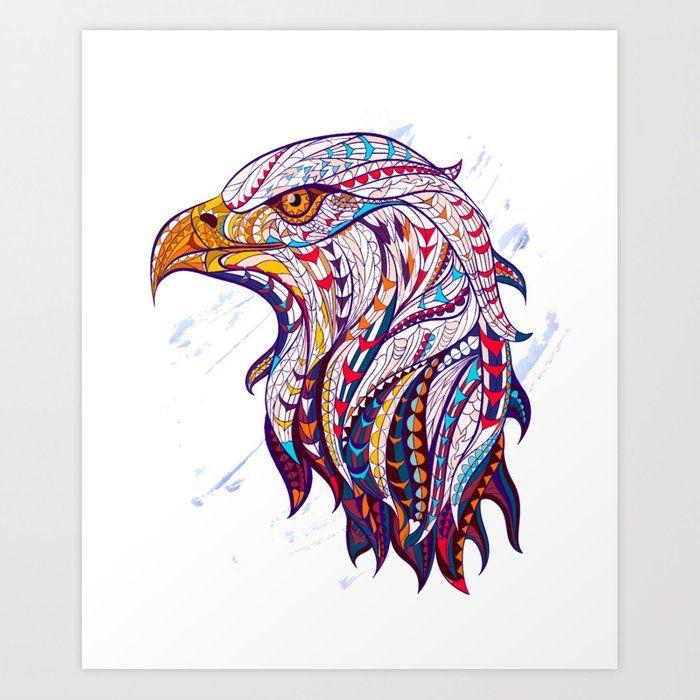 The Tribal Eagle Art Print By Bearwood Designs X Small Eagle Art Eagle Vector Totem Tattoo